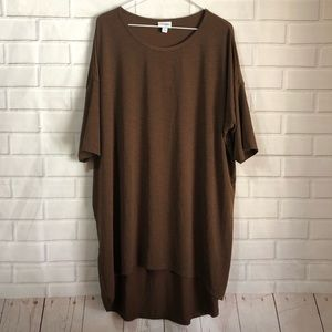 LulaRoe Irma Solid Brown High Low Tunic Top
